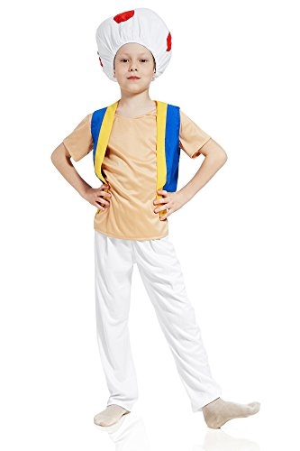 Kids Boys Toadstool Costume Fantasy Mushroom Funny Fungus Magic Forest Dress Up (6-8 years, Blue/Beige)