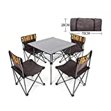 ZFF Folding Camping Table, Roll Up Ultralight Aluminum Table Top with Carrying Bag for Picnic Hiking Travel Fishing Beach BBQ,5PCS
