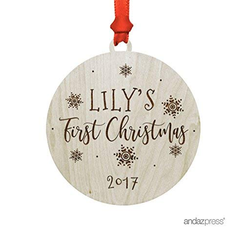Andaz Press Personalized Laser Engraved Wood Christmas Ornament with Gift Bag, Babys First Christmas 2019, Elegant Snowflakes, Custom Name