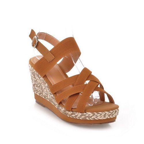AmoonyFashion Womens Open Toe High Heel Wedge Platform Soft Material PU Solid Sandals Brown no6eO