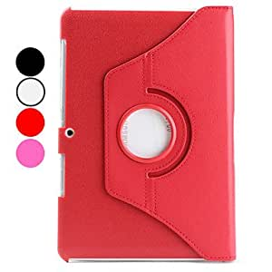 360 Degree Rotating Litchi PU Case with Stand for Samsung Galaxy Tab2 10.1 P5100 - COLOR#Red