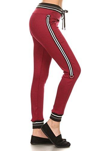 Leggings-Depot-Womens-Team-3-Stripes-Activewear-Jogger-Comfortable-Cuff-Sweatpants-Inner-Pockets