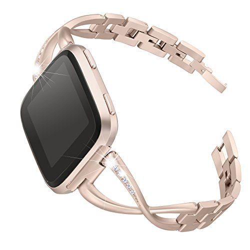 bayite Stainless Steel Bands Compatible Fitbit Versa for Women, Bling Replacement Band Bracelet with Rhinestones Diamond X-Link Accessories Watch Band, 5.3