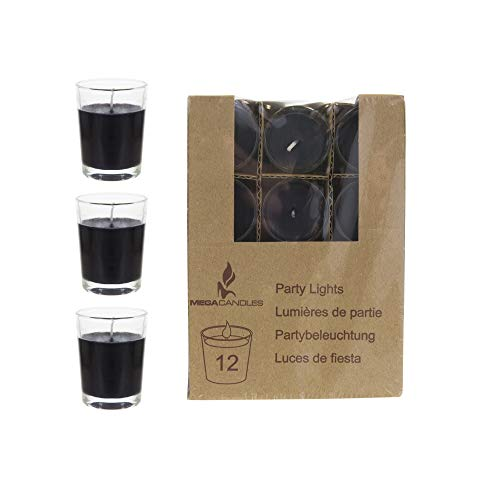 - Mega Candles 12 pcs Unscented Black Glass Container Candle | Mini Party Light 5 Hours 1.5