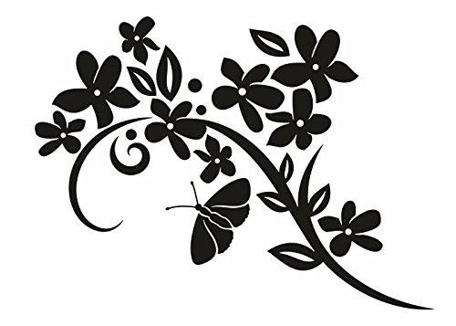 Wandtattooladen Wandtattoo - Ranke mit Schmetterling Größe 100x73cm Farbe  weiß B013R7P322 | Vorzüglich