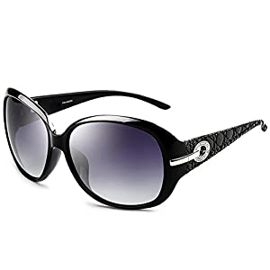 Joopin Women Polarized Sun Glasses Butterfly Big Frame Brand Sunglasses (Black Simple package, Black)