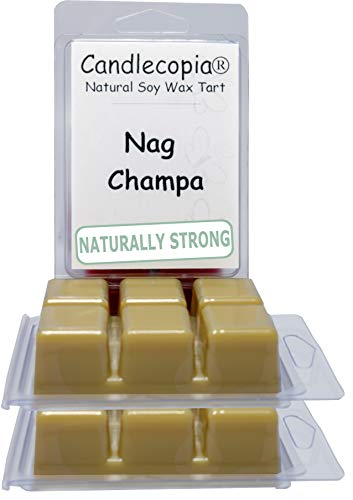Candlecopia Nag Champa Strongly Scented Hand Poured Vegan Wax Melts, 18 Scented Wax Cubes, 9.6 Ounces in 3 x 6-Packs