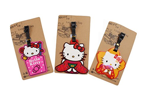 Review Set of 3 – Super Cute Kawaii Cartoon Silicone Travel Luggage ID Tag for Bags (Hello Kitty 3)