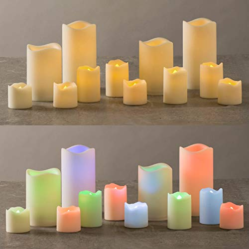 LampLust Outdoor Flameless Candles with Color-Changing LEDs - Set of 12 Assorted Pillar and Votive Candles, Warm White or Multicolor Light Options, Waterproof, Batteries -