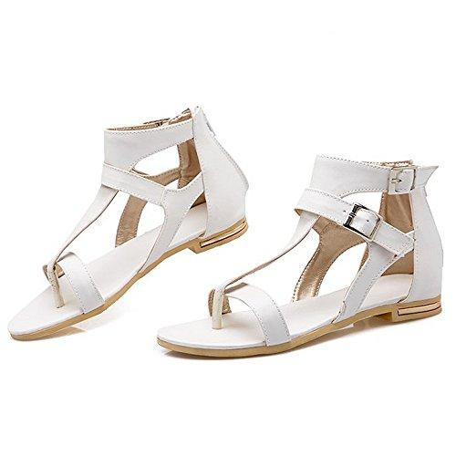 sangle blanc Cheville femmes LongFengMa mode sandales la plates de des zippée vw4Sw