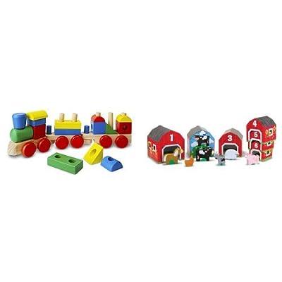 Melissa & Doug Stacking Train & Nesting, Sorting Barn Bundle: Toys & Games