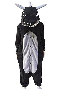 Lifeye Men Women Black Dragon Pajamas Animal Cosplay Costume With Horns Black