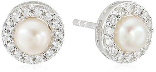 Pearl Sapphire Earrings (Sterling Silver Freshwater Cultured White Pearl and Lab Created White Sapphire Earrings)