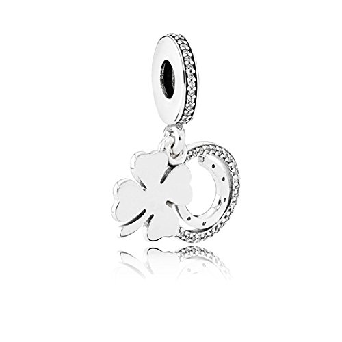 Kigmay Jewelry 925 Sterling Silver CZ Lucky Four Leaf Clover Horseshoe Charm for Women
