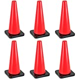 18'' High Hat Cones in Fluorescent Orange with Black Base for Indoor/Outdoor Traffic Work Area Safety Marker & Agility Sport Training by Bolthead Industrial (6-pack)