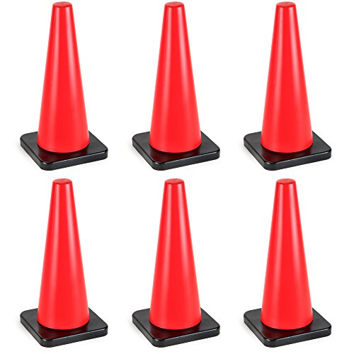 18'' High Hat Cones in Fluorescent Orange with Black Base for Indoor/Outdoor Traffic Work Area Safety Marker & Agility Sport Training by Bolthead Industrial (6-pack) by Bolthead Industrial