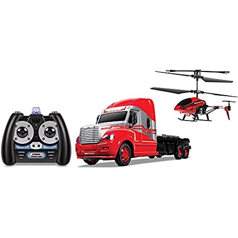 World Tech Mega Transport Hauler Helicopter and Toy Truck Combo Set for Boys - Cars Mega Mack Playset