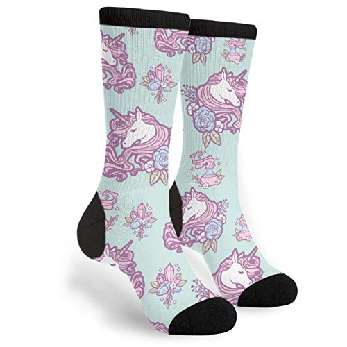 Women's Novelty Cotton Crazy Crew Socks - Magic Unicorn Socks,Christmas ()