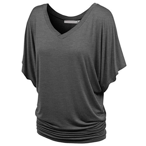 Casual Grau Femme Plier V Basic Elgante Bonne Manche T Courtes Qualit Et Cou Mode Shirts Uni Souris Manches Outdoor Chauve Bouffant Vetement Shirt Shirts T De Top IFx7fwOT