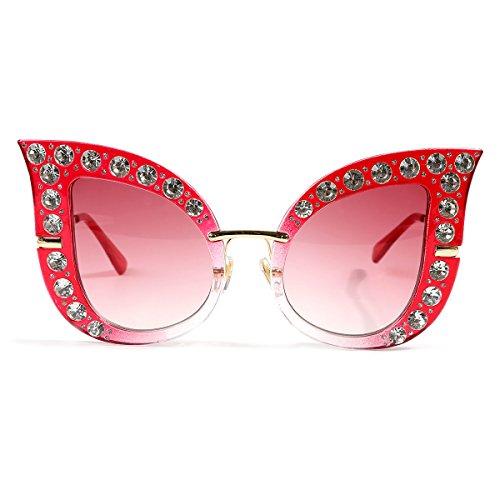 Glamaker Womens Fashion Oversized Cat Eye Mirrors Rhinestones Twin-Beams Sunglasses Shades