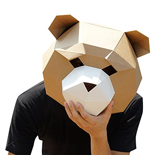 ABENCA DIY 3D Paper Animal Head Mask Halloween Party Costume Cosplay Paper Craft kit,Brown2,L