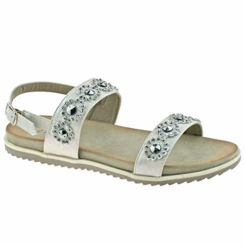 36 Silver 3 KD OR Sandals Silver Light Flower L565 EU Buckle Cipriata Ladies Stone Shimmer UK qE1OvwZxH