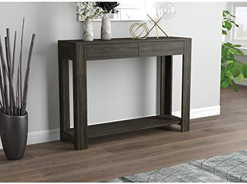 Console Sofa Table – 40 Grey with 2 Drawers Modern Contemporary Rectangle MDF