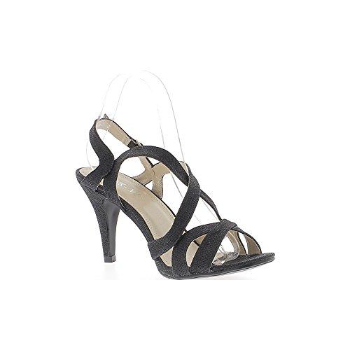 Sandalias talla grandes negro lentejuelas en el tacón de 10cm