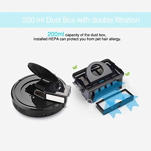 EYUGLE Robot Vacuum Higher Sensing Tech Hard w/HEPA Filter Good Pet Hair
