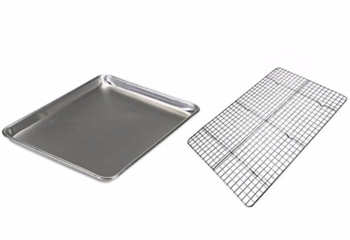 "Checkered chef baking sheet and rack set - aluminum cookie sheet tray/half sheet pan for baking with stainless steel… 2 you asked, we've delivered! Our most popular, best-selling cooling rack now comes in a set with a half sheet pan to make this baking sheet set. Team them together for oven baked bacon and crispy chicken wings, or use separately to bake and cool cookies and cakes. The baking rack: 100% stainless steel with no artificial coatings or treatments, perfect for oven use. Our unique strengthening crossbar prevents twisting and warping and quickly made the checkered chef cooling rack one of the best selling racks on amazon. Achieving perfect scores for both ""cleanup"" and ""strength and stability"" in recent professional product testing, the checkered chef cooling rack is proud to be ""highly recommended"" by cook's country (america's test kitchen). The pan: sick of burnt bottoms on your baked goods? The sturdy, aluminum construction of the checkered chef half sheet pan gives it superior heat conductivity resulting in even baking with no burnt bottoms. No sharp edges on this bakers sheet pan! The reinforced, rolled edge is smooth and safe and provides extra strength to help prevent this heavy duty baking sheet from warping."