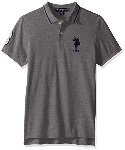 U.S. Polo Assn. Men's Slim Fit Short Sleeve Pique Polo Shirt, Heather Grey, XL