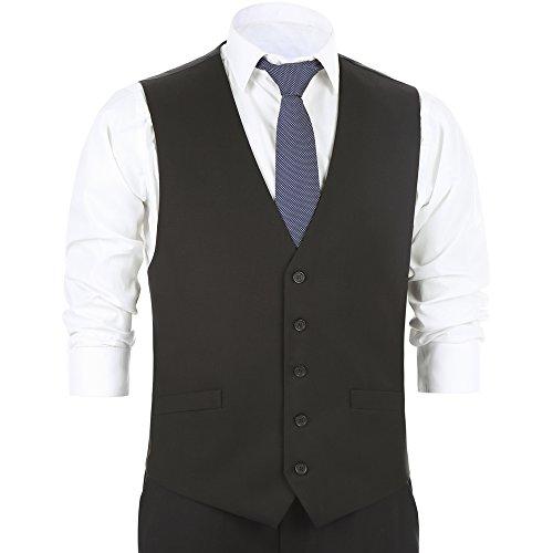 Chama Men's Formal Classic Fit Business Dress Suit Button Down Vest Waistcoat(36 Regular,Black) (5 Button Vest)