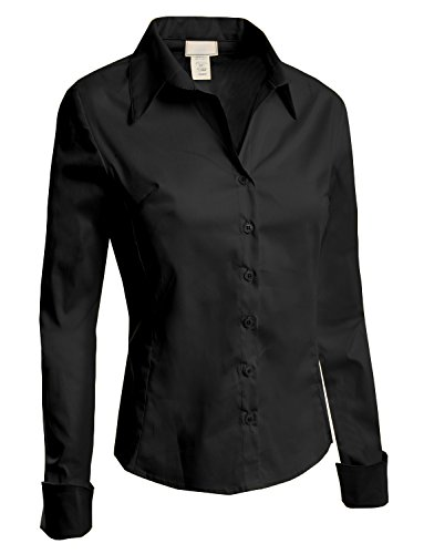 LE3NO Womens Lightweight Tailored Button Down Shirt with Stretch