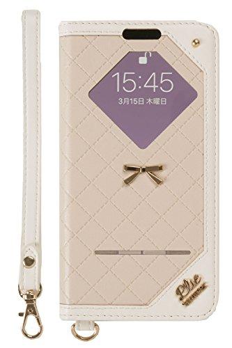 くびれたフロント極めてtrouver Plie iPhone XS/X 手帳型ケース 窓付き/ベージュ/ホワイト]