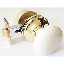 Gainsborough 86689 Genuine Bisque (Off-white) Porcelain & Polished Brass Bed & Bath Locking Door Knob Set