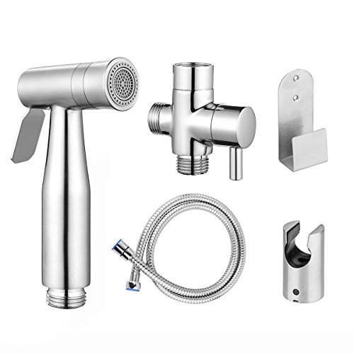 Handheld Bidet Toilet Sprayer Kit, ALLOMN Premium Stainless Steel Baby Cloth Diaper Washer Shower Sprayer for Toilet Seat Cleaning Bathroom Floors Personal Hygiene by ALLOMN