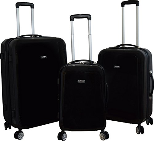 Kemyer 888 Vintage World Series Lightweight 3-PC Expandable Hardside Spinner Luggage Set (Black) by Kemyer