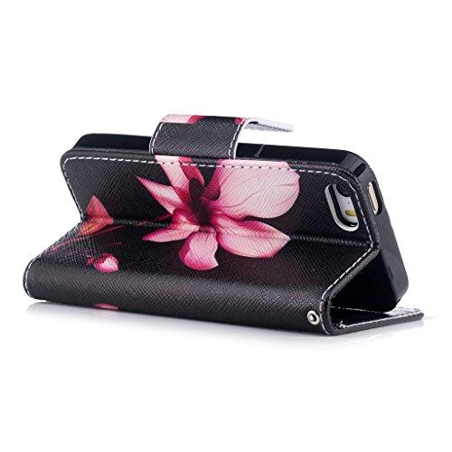 Crisant Rosa Lotus Drucken Design schutzhülle für Apple iPhone 5 5S / SE,PU Leder Wallet Handytasche Flip Case Cover Etui Schutz Tasche mit Integrierten Card Kartensteckplätzen und Ständer Funktion fü
