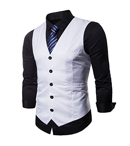 (AOYOG Mens Formal Business Vest for Suit or Tuxedo White)