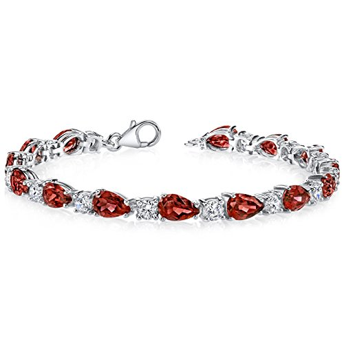13.75 Carats Garnet Tennis Bracelet Sterling Silver Pear Shape by Peora
