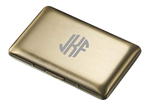 Visol Antique Brass Double Sided Business Card Case with Free Laser Engraving (Circle Monogram)