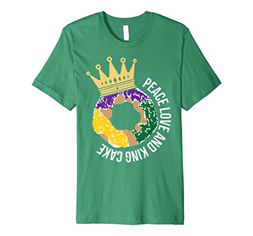 Mens Peace Love and King Cake Mardi Gras New Orleans T-Shirt Large Kelly Green for $<!--$24.99-->