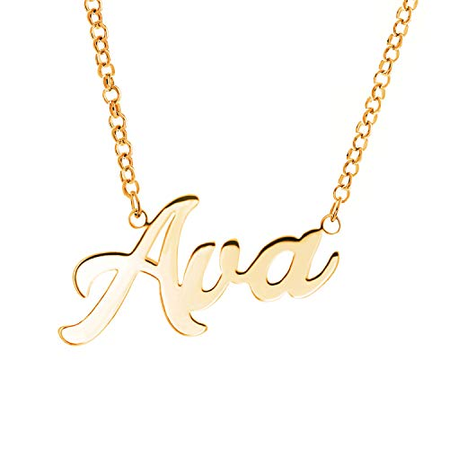 - Fujin Personalized Necklace Custom Name Nameplate Pendant Necklace for Women in Silver -Gift to The One (Ava in Gold)