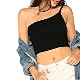 Uscharm Single Shoulder Sleeveless Blouse Strap Camisole Womens Summer Sexy Vest Tanks Solid Color (Black, M)