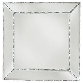 ChargeIt by Jay Bead Mirror Square Charger Plate/Pillar Plate, Silver