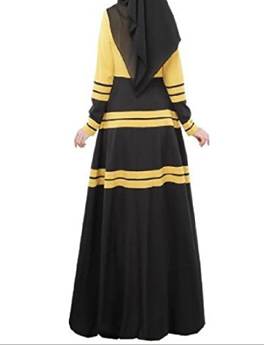 Coolred-femmes À Manches Longues Islamic Contraste Musulman Pleine Longueur Robe Jaune