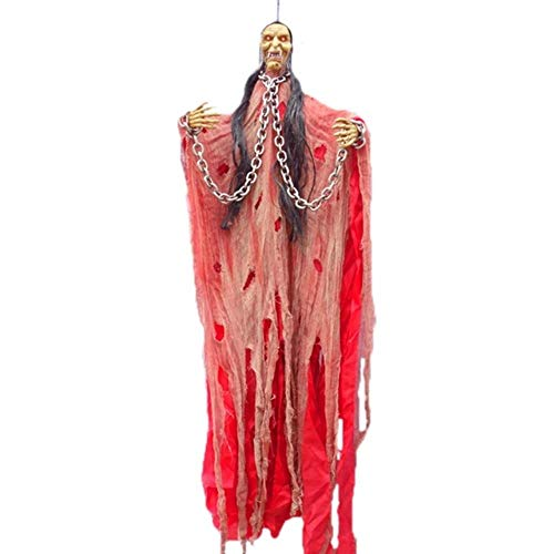 Hakazhi Inc Party DIY Decorations - 1 Piece Horror Bar Ktv Decor Voice Control Ghosts Eye Glow Terrible Ghosts Haunted House Props Halloween Party Decorations (Red)]()
