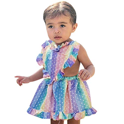 Trule Toddler Baby Girls Sleeveless Rainbow Dot Print Ruffles Dress Backless Dresses Frill Rainbow Print Stripe Dress