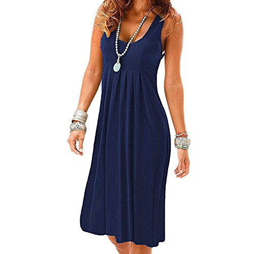 Women Casual Pleated Losse Summer Solid Sleeveless Scoop Neck T-Shirt Midi Tank Dress Sundress (L, Navy) ()