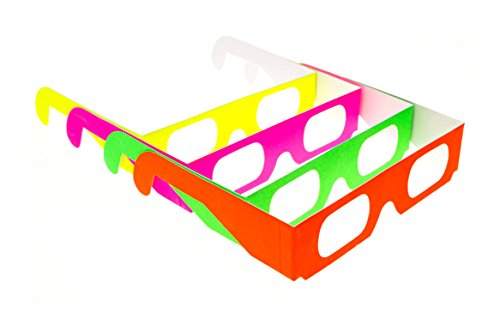 Paper Diffraction Glasses for Lights, Festivals, Raves (Assorted Neon, 25 Pairs)
